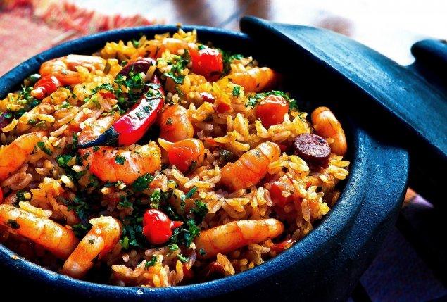 Reis-Gemüse-Pfanne mit Garnelen