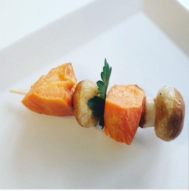 Süßkartoffel-Champignon-Spieß