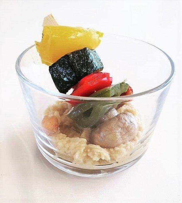 Antipasti-Grillgemüse-Spieß mit Dip